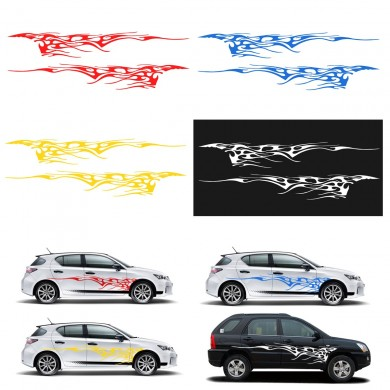 Car Stickers Body Graphics Vinyl Decals Blue/Red/Yellow/White 102x14Inch Pair