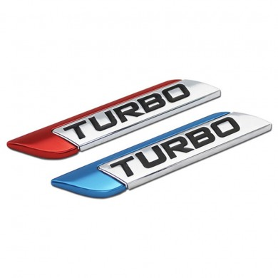 Pair 3D Metal TURBO Car Styling Stickers DIY Turbocharged Logo Emblem Badge Decals for Auto SUV Body Fender Trunk
