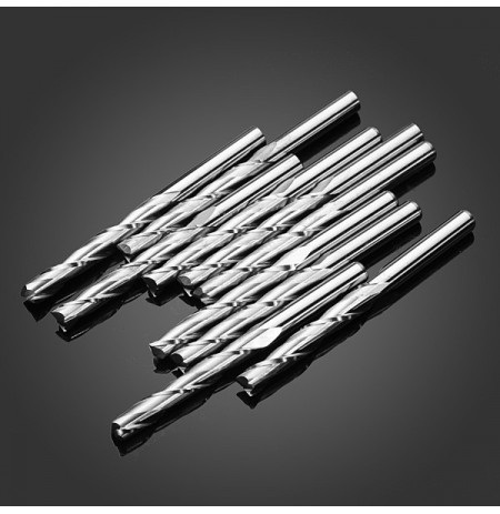 Drillpro 10pcs 3.175*22mm 2 Flutes Milling Cutter CNC Cutting Tool Parts