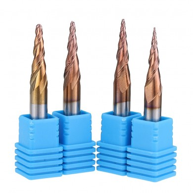 Drillpro R0.25/ R0.5/ R0.75/ R1.0 *15*D4*50 2 Flutes Taper Ball Nose End Mill HRC50 Milling Cutter