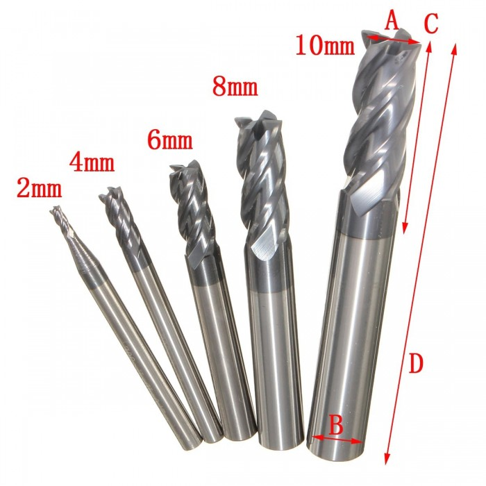 Straight Shank 6mm Cutting Dia 4 Flutes Milling Cutter End Mill AD