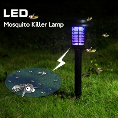 Garden Solar Power LED Mosquito Killer Lamp Yard Plastic Waterproof Lawn Light