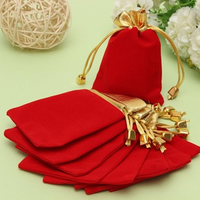 10PCS Golden Red Flannelette Drawstring Pouch Jewelry Gift Bags Pouch