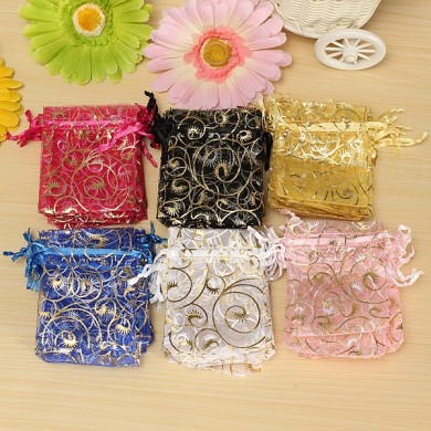 100PCS Organza Gift Pouch Jewelry Gift Candy Bag Packing Drawable Wedding Party Gift Bags