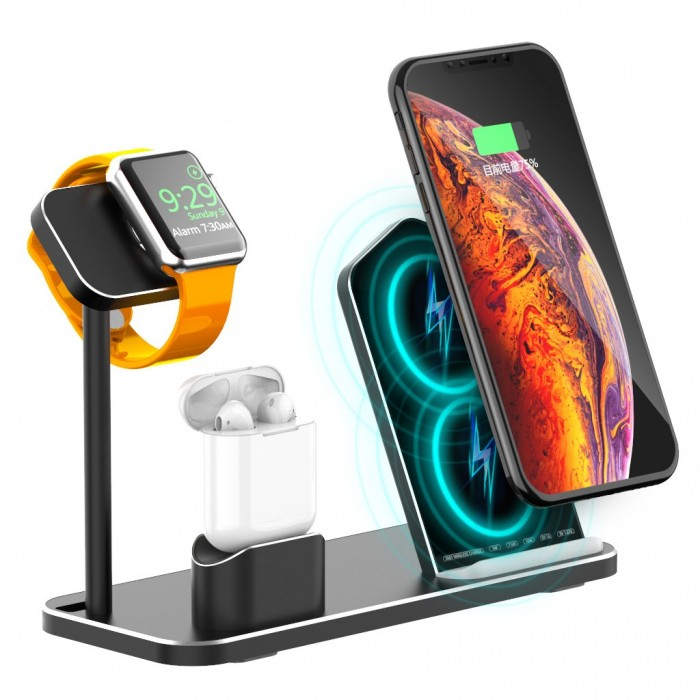 3 In 1 10W Qi Wireless Charger Charging Dock Station Stand Holder Phone Holder Watch Holder For iPhone Samsung Apple Watch Serie