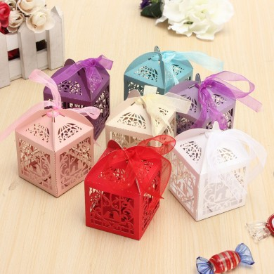 10pcs Pierced Birdcage Candy Sweet Package Gift Box Wedding Party Cake Chocolate Box