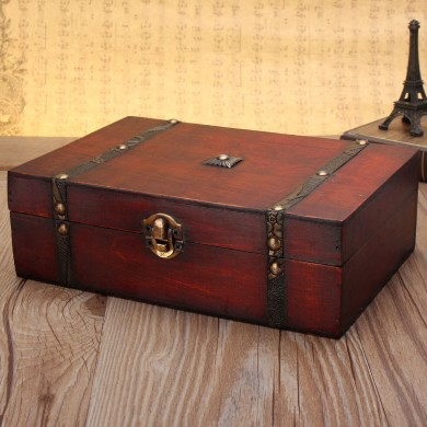 Large Vintage Wooden Storage Present Candy Gift Box Wedding Party Jewelry Gift Big Box