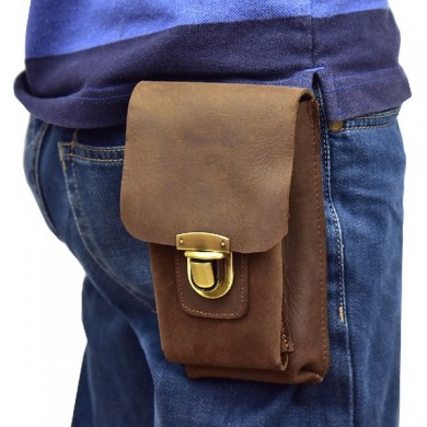 Men High Quality Genuine Leather Durable Casual Waist Bag Portable Phone Bag