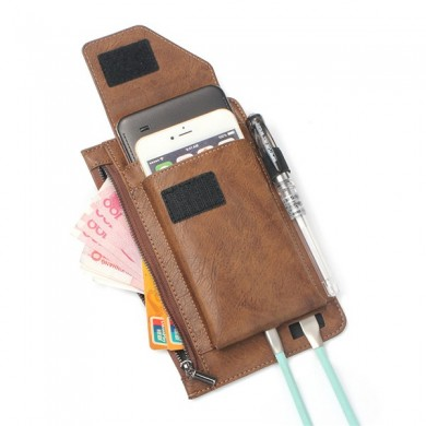 6.3 inch Battery Charger Phone Bag Double Layer Vintage PU Leather Waist Bag For Men