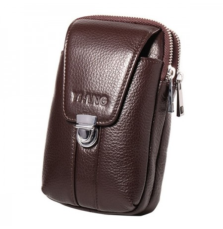 Men 4.7/6 Inch Cell Phone Waist Bag Genuine Leather Belt Zipper Coin Purse Phone Bag