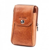Men Genuine Leather Brown Bum Bag Belt Pouch for 6in Phones