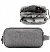 Men Women Multifunction Earphone Double Zippers Storage Bag