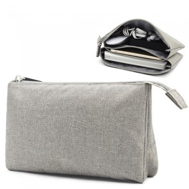 Men Women Zipper Pocket Portable Power Source Earphone Storage Bag