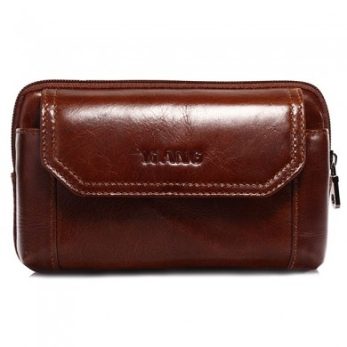 Genuine Leather Mens Belt Phone Pouch