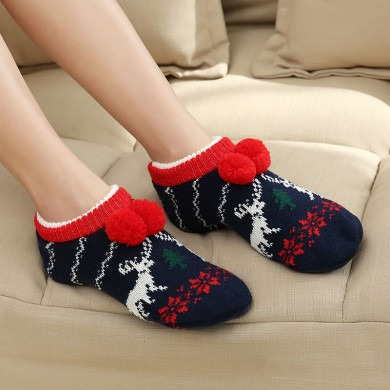 Women Winter Christmas Ankle Socks Non-Slip Floor Socks