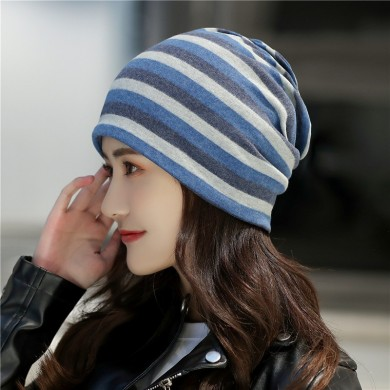Men And Women Outdoor Riding Striped Beanie Hat Collar