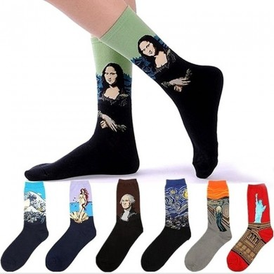 Unisex Mona Lisa Oil Painting Cotton Tube Socks