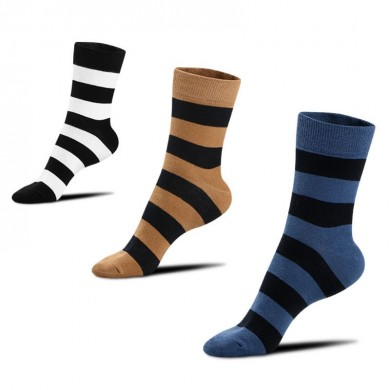 Men Stripe Combed Cotton Short Athletic Socks