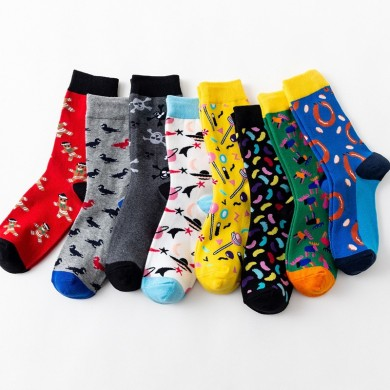 Unisex Multi Color Pattern Print Middle Tube Socks