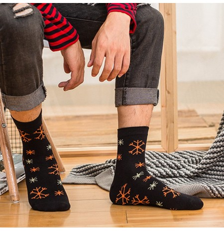 Men Middle Tube Printed Breathable Cotton Socks