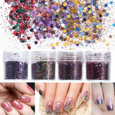4 Pots 10ml Nail Art Glitter Powder Sheet Sequins Sparkly Colorful Christmas Iridescent Acrylic Tips