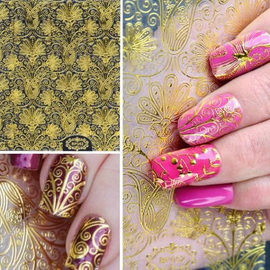 4 Blatt 3D Gold geprägte Nagel Aufkleber Flower Blooming Decals Gorgeous DIY Design Maniküre
