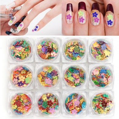 12 pots Colorful Flower Shaped Nail Sequins Decoration Sheet Glitter Cute Holographic Laser Manicure