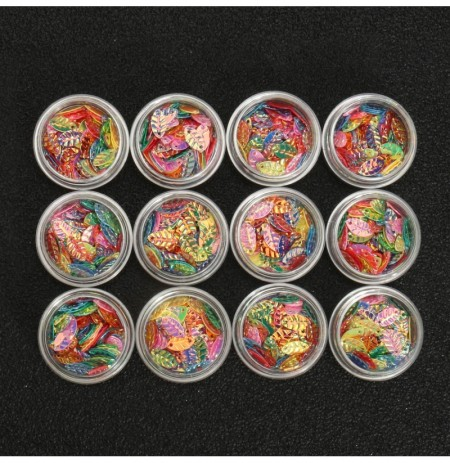 12 pots Feuille en forme de sequaches de ongles colorés Feuille de décoration Glitter Cute Holographic Laser Man