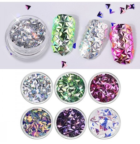 6 couleurs Laser Triangle Nails Sequins Nail Décoration
