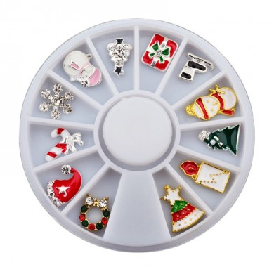 Natal Unhas Art Decoration Wheel Snowman Snowflake Trenó Strass DIY Design