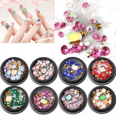 1 Flasche Diamanten Nails Sticker Colorful Perlen Crystal