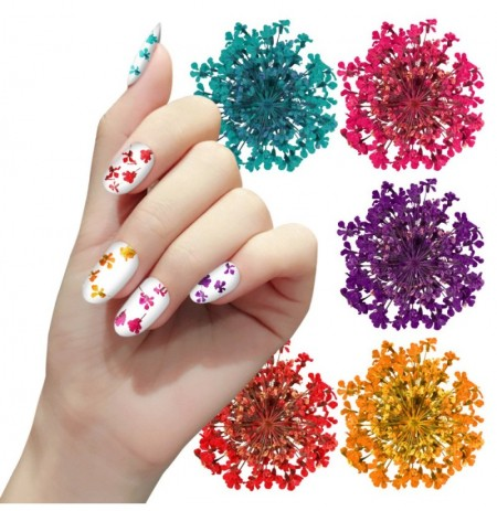 Unhas Art Decoration 3D Dry Dry Flowers