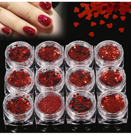 12pcs 3D Nail Art Powder Glitter Tattoo Body Face Eye