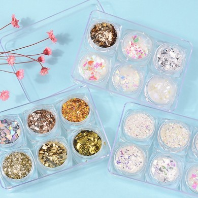 6pcs 3d paillettes de verre paillettes ongles set art decoration