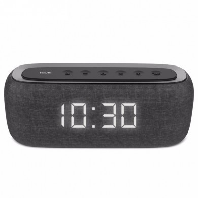 Havit M29 Altoparlante bluetooth senza fili Dual Alarm Clock Dual Driver LED Display Altoparlante stereo AUX TF Card con microfo