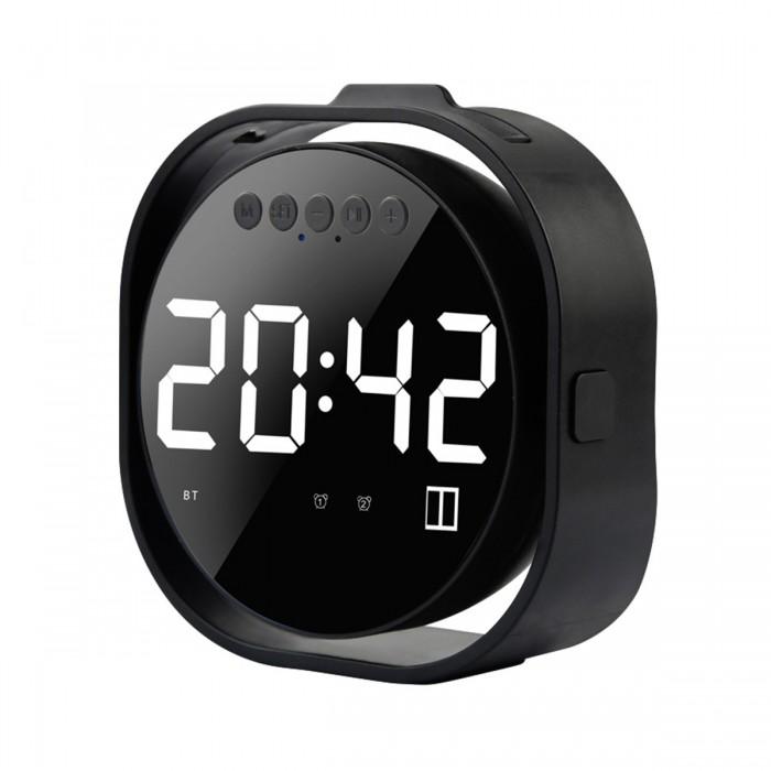 LED Display Dual Alarm Clock Dual Units Wireless bluetooth Bass Speaker FM Radio USB Port Mirror Speaker with Mic