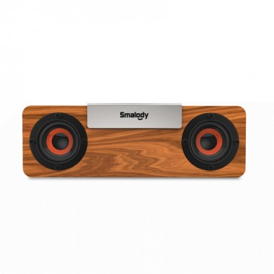Smalody bluetooth 5.0 Speaker Portable Wooden Wireless TWS Speaker Stereo Subwoofer TF Card FM Headset