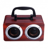 Altoparlante bluetooth wireless W5B in legno Dual Units Altoparlante stereo a bass TF con microfono