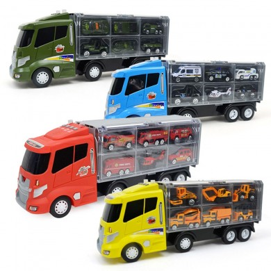 Engineering Alloy Car Diecast Model Set Portable Storage Large Container Transport Vehicle 6 Loaded Car