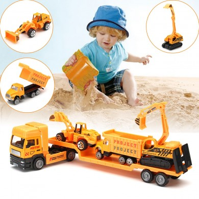 4in1 Kids Toy Recovery Vehicle Tow Truck Lorry Low Loader Diecast Model Toys Construction Xmas