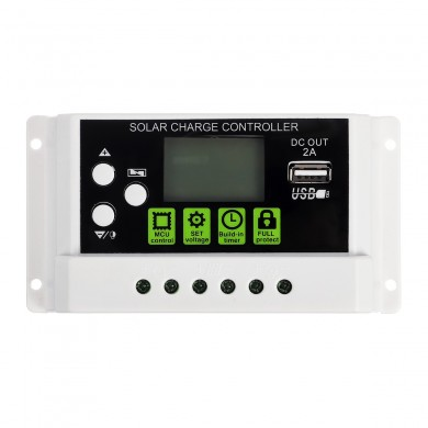 20A 12V/24V LCD Display PWM Solar Panel Charging Controller Li-ion &  Lead Acid Battery Compatible USB DC Backlight Display