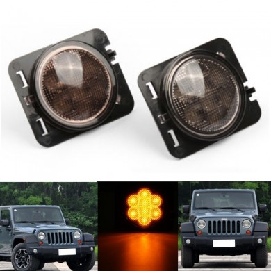 2X Smoked Amber Car LED Parking Side Marker Light Front Fender for Jeep Wrangler JK