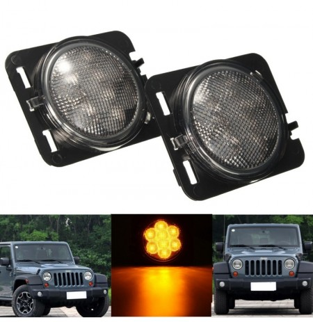 2Pcs Clear Amber Parking Side Marker LED Light Front Fender for Jeep Wrangler JK