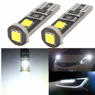 3.5W Canbus Error Free T10 DC12V 150ma 3 SMD White Side Wedge LED Light Bulb