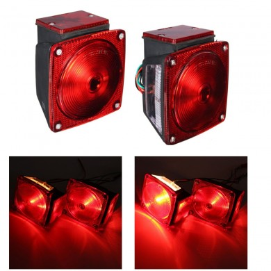 Pair 12V Universal Submersible Truck Trailer Tail Brake License Light Side Marker