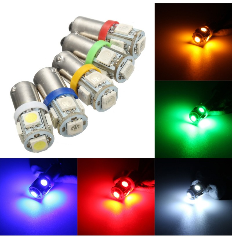 Car 12V 5 SMD LED Ba9s T4W W5W T10 Indicator Light Bulb Lamp 5 Color (Color: Yellow) фото