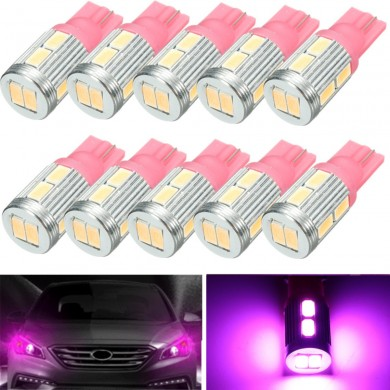 10Pcs Pink Color 20Lm 2.3W 0.17A T10 5730 LED Side Indicator Lamp Light