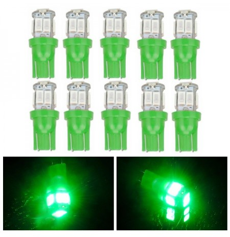10pcs T10 5630 10SMD LED Side Maker Light Car Door Lamp Interior Bulb Green Lighting