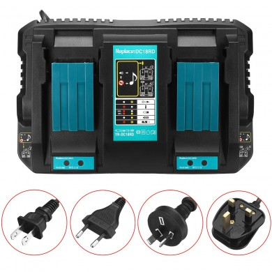 Dual Twin Port Battery Charger For Makita DC18RD Li-ion LXT 7.2V-18V Fast Rapid