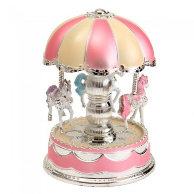 Plastic Carousel Music Box with Flashlight for Birthday Christmas Gift